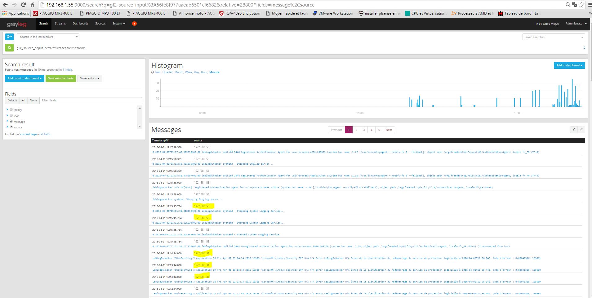 Installation 59 modulation bin adresse HOST et Server CentOS7 sur tableau de bord