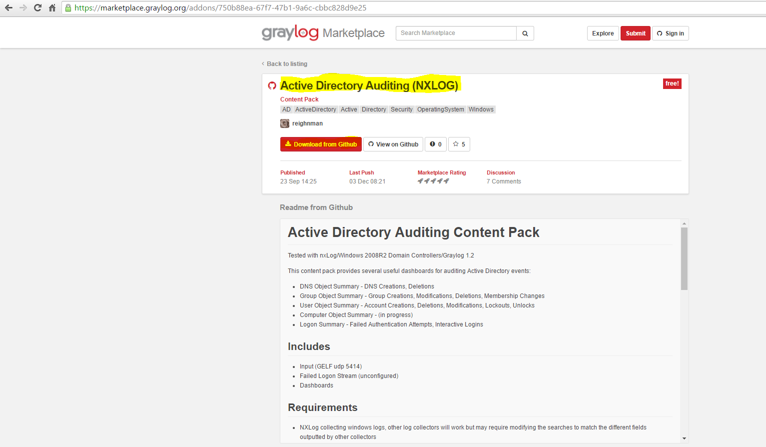 Installation 65 contenu pack active directory nxlog market place graylog