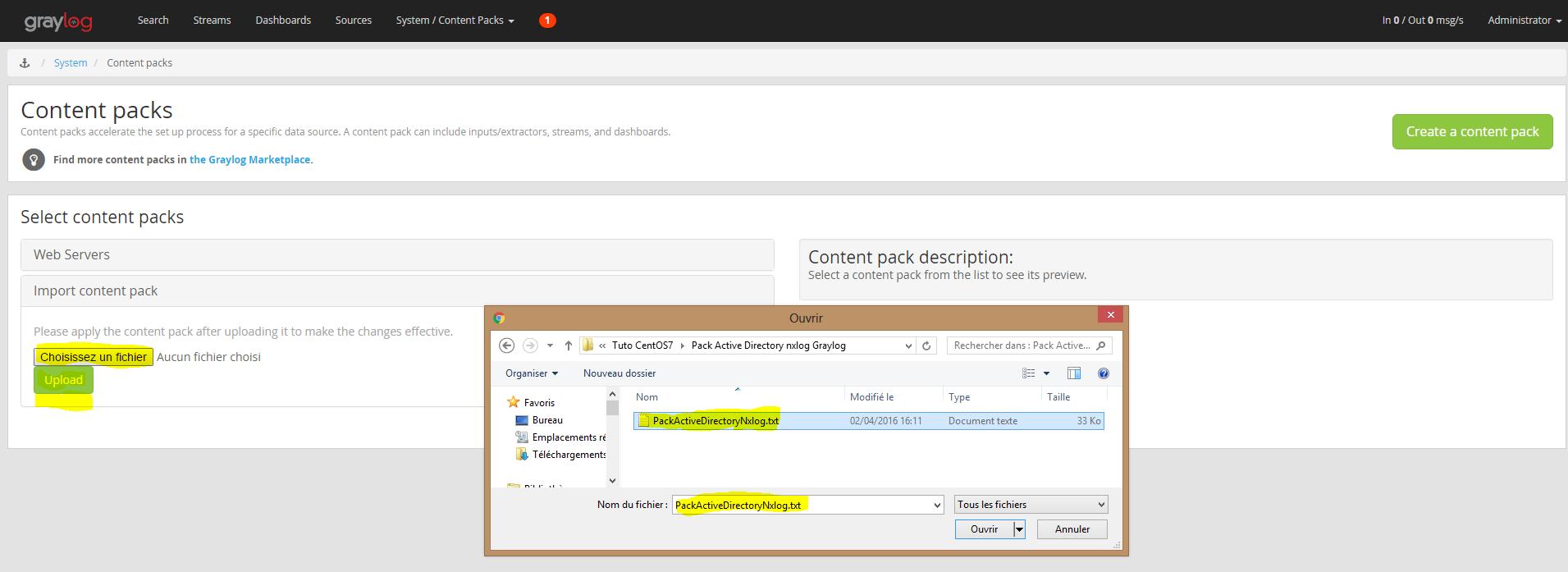 Installation 67 inportation contenu pack active directory nxlog dans Graylog Server