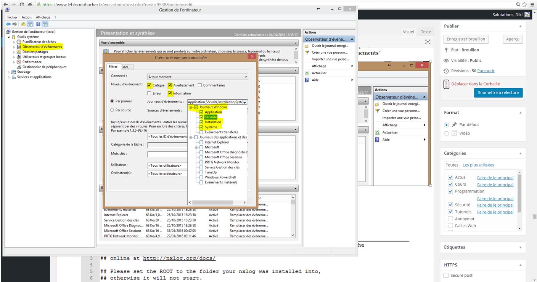 Installation 83 Critères événements Windows appli securité systeme
