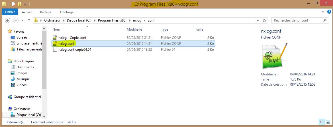 Installation 85 localisation fichier nxlog.conf
