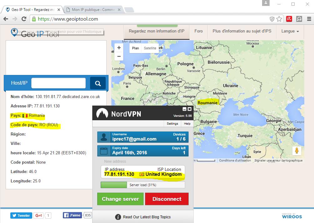 image 33 Localisation IP publique de NordVPN roumanie au lieu de UK