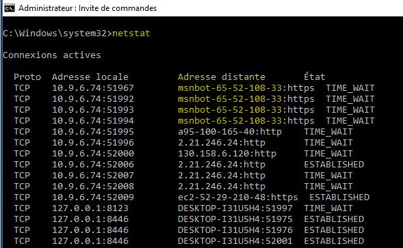 image 35 connexions actives avec MSNBOT causé par NordVPN