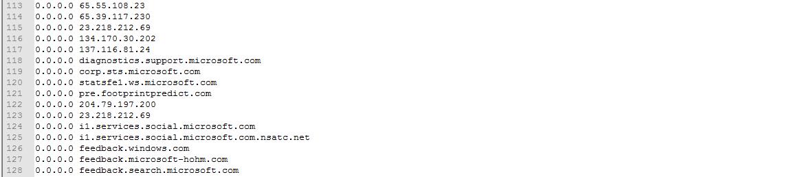 Image 58 2 Fichier Hosts suite à Windows10Privacy