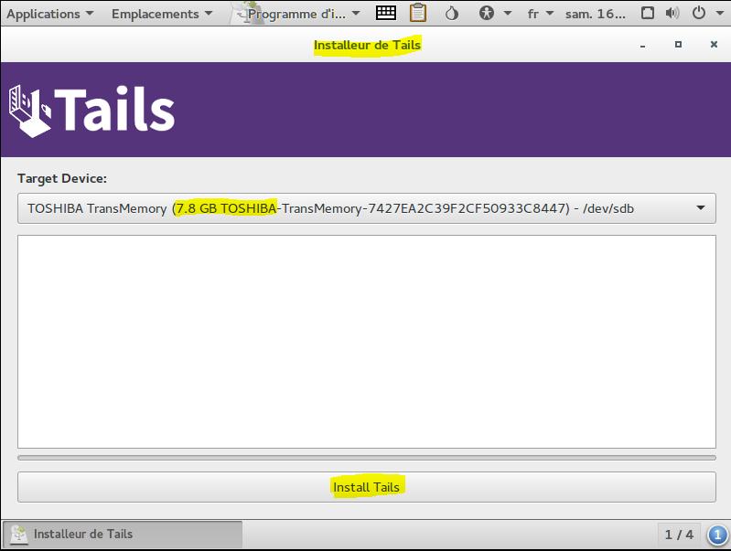 Image 10 installation sur clé USB TAILS