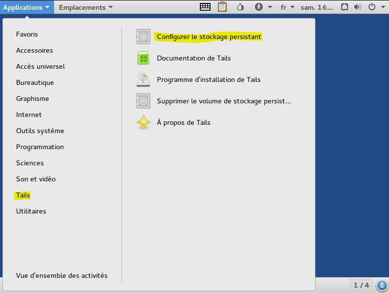 Image 11 config le stockage persistant des données sur clé USB TAILS