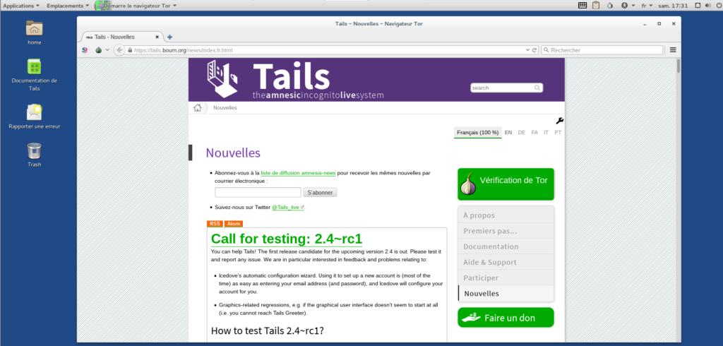 Image 13 Finalisation installation Tails démarrage navigateur Tor