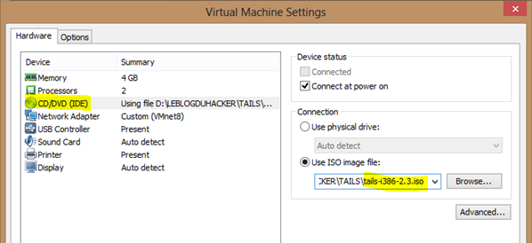 Image 2 config VMWARE TAILS bis 3