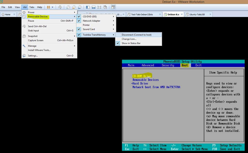 Image 4 config VMWARE Boot Bios CDROM Tails vérif Clé USB TAILS