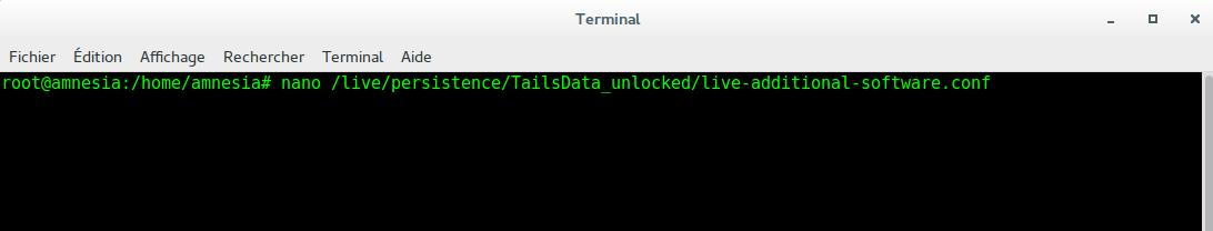 Image 56 Terminal installation logiciels au démarrage Tails bis