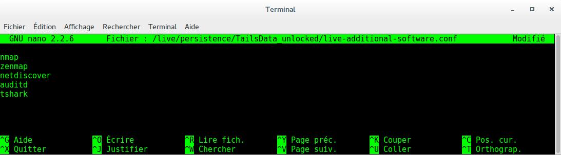 Image 56 Terminal installation logiciels au démarrage Tails cis