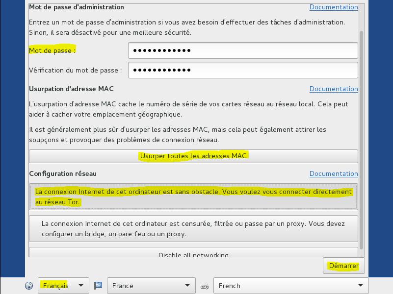 Image 6 1 Démmarage installation config mot de passe Admin Tails TAILS