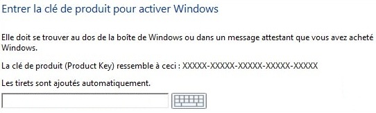 installer windows 10 avec la clé de licence