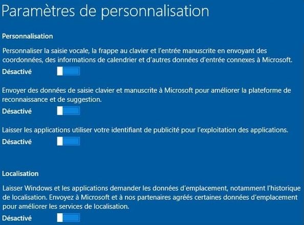 paramètres de personnalisation windows 10