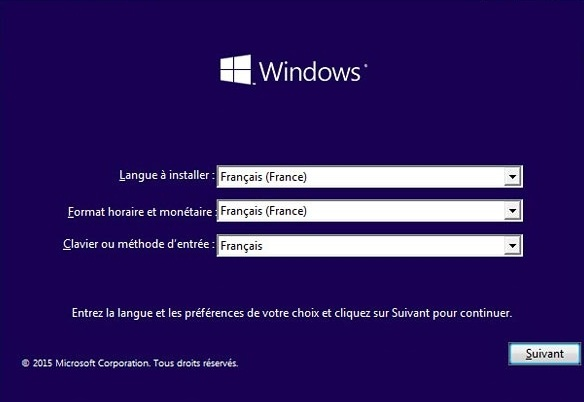 etape 1 de l'installation de windows 10