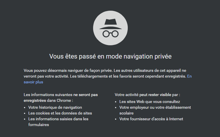 navigation privée chrome