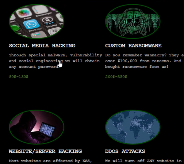 dark web service de hacker