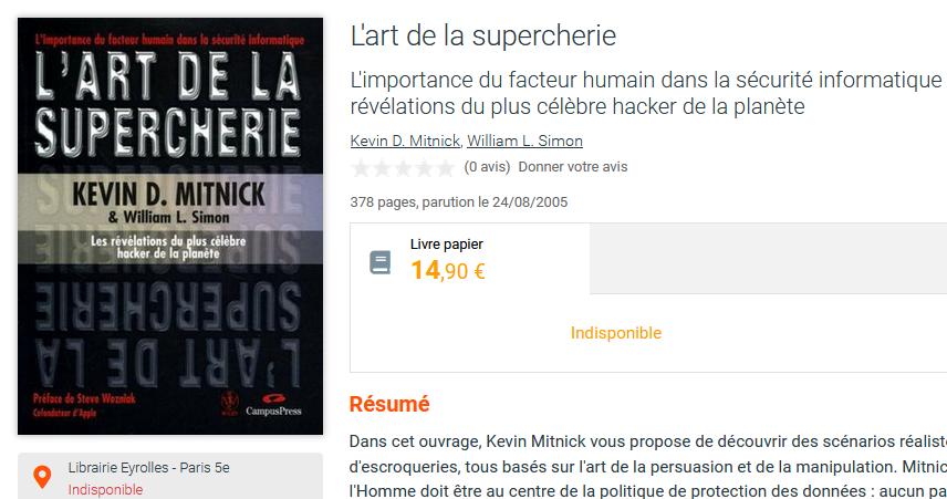 Mitnick art supercherie indisponible livre
