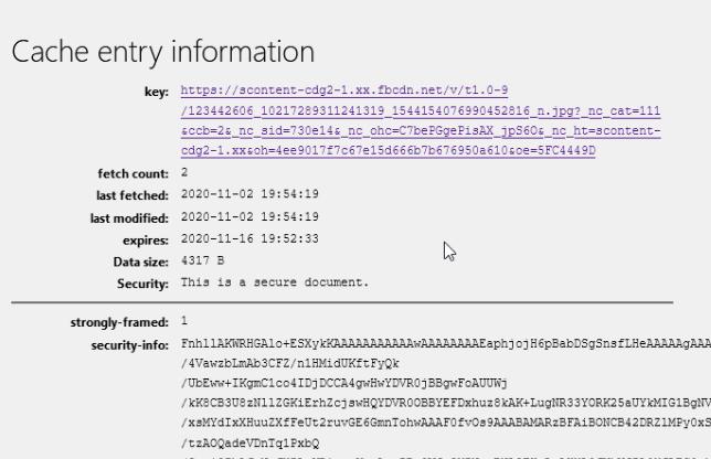 récupération de données via la cache