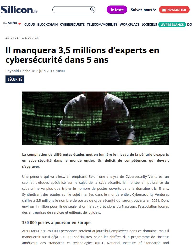 pénurie de métiers de la cybersécurité